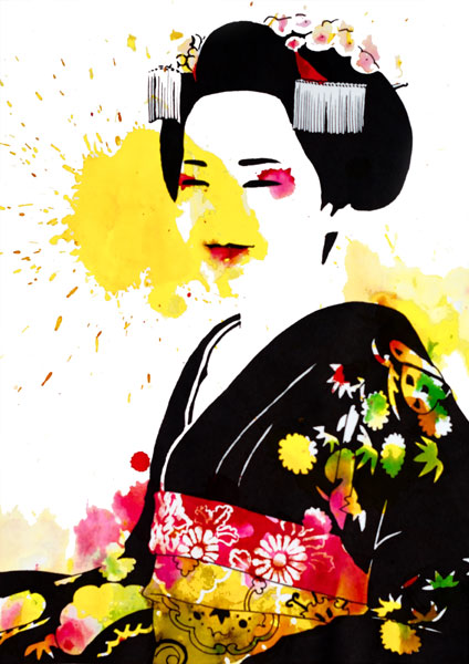 ilustracion a tintas y rotuladores de una maiko o geisha