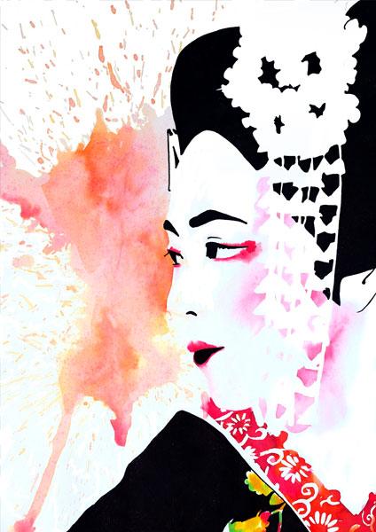 ilstración a tintas de una maiko por galmir