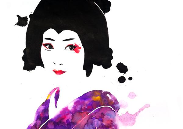 ilustración a tintas de una geisha por galmir