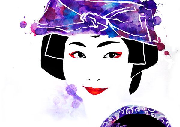 ilustración a tintas  de geisha ryokan de garumiru