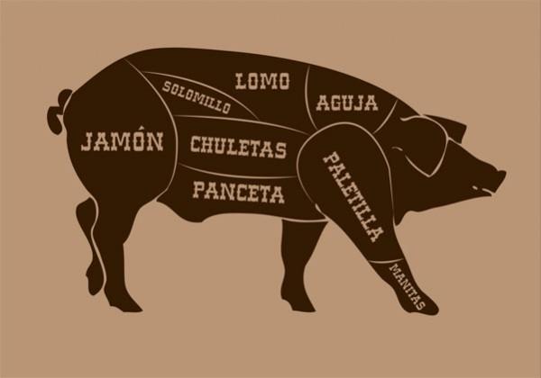 ilutracion de despiece de cerdo por galmir